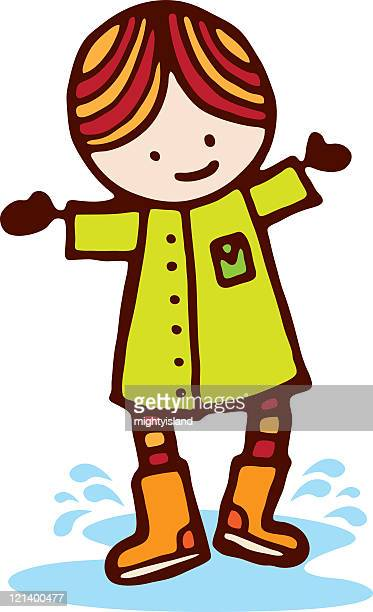 puddle jumping - puddle stock illustrations, clip art, cartoons, & icons