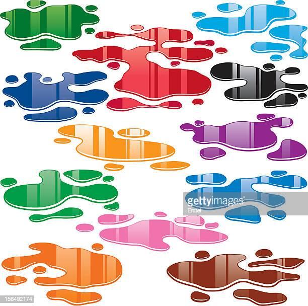60点の水たまりのイラスト素材クリップアート素材マンガ素材