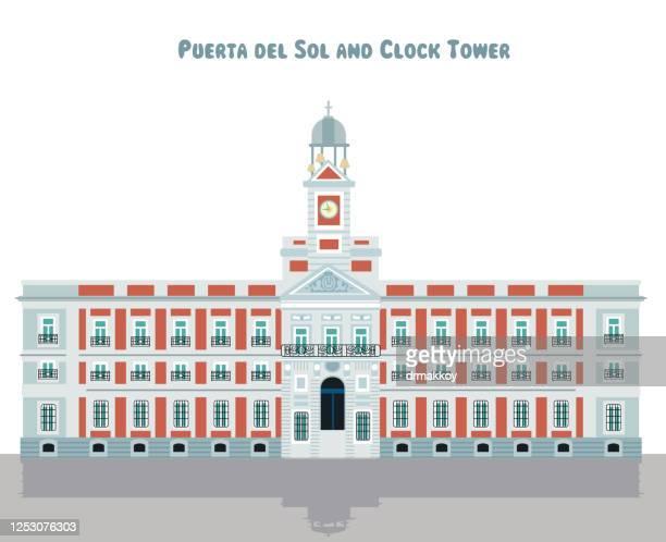 ilustraciones, imágenes clip art, dibujos animados e iconos de stock de puerta del sol y torre del reloj - puerta del sol
