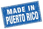 Puerto Rico blue square grunge made in stamp