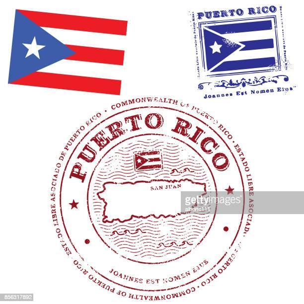 illustrations, cliparts, dessins animés et icônes de drapeau de porto rico et timbres - porto rico