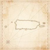 Puerto Rico map in retro vintage style - old textured paper