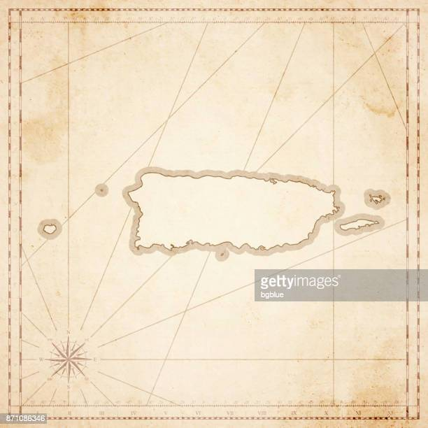 Puerto Rico Karte im Retro-Vintage-Stil - strukturierte Altpapier