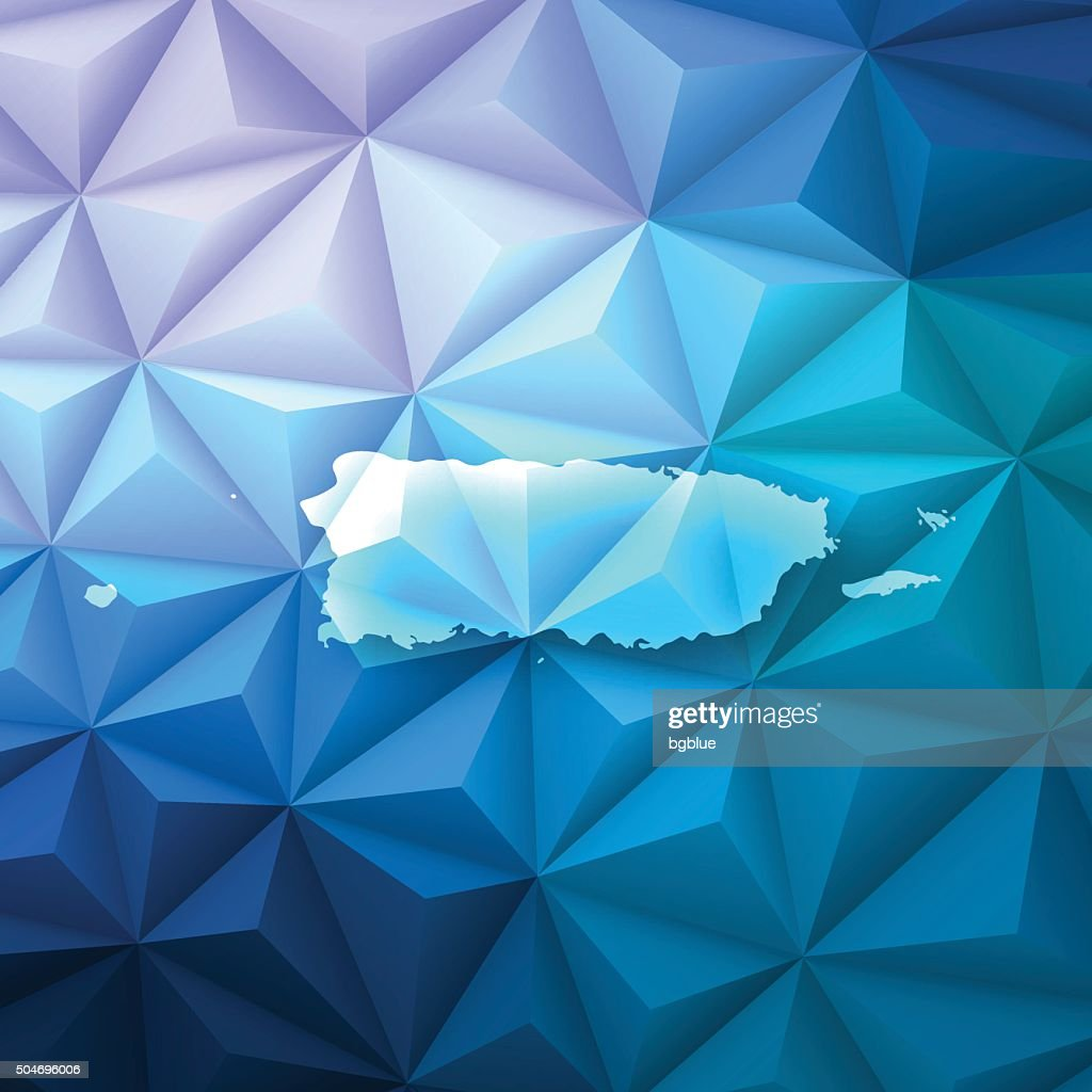 Puerto Rico On Abstract Polygonal Background   Low Poly, Geometric : Vector  Art