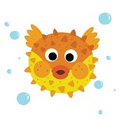 Puffer Fish animal cartoon character vector illustration.
