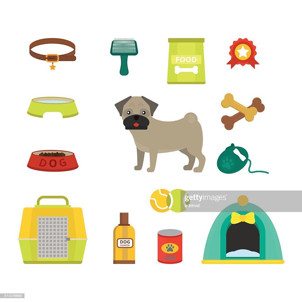 Pug dog symbols vector illustration