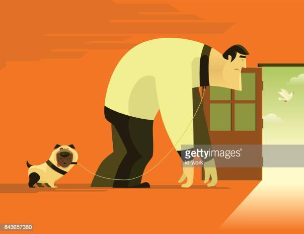 pug walking with sad man