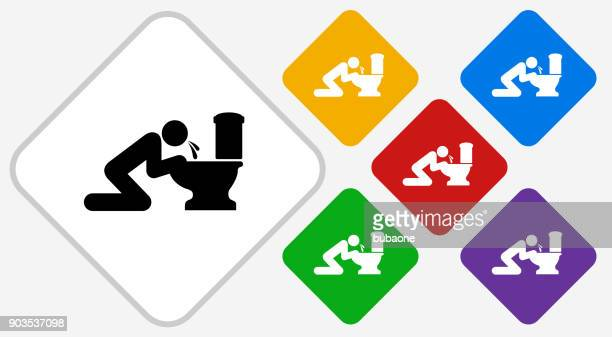 puking toilet color diamond vector icon - vomit stock illustrations