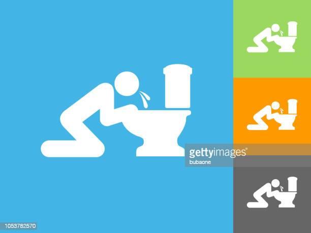 illustrations, cliparts, dessins animés et icônes de vomir toilette plat icône sur fond bleu - vomit
