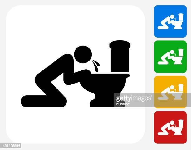 Puking Toilet Icon Flat Graphic Design