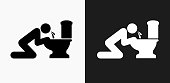 Puking Toilet Icon on Black and White Vector Backgrounds