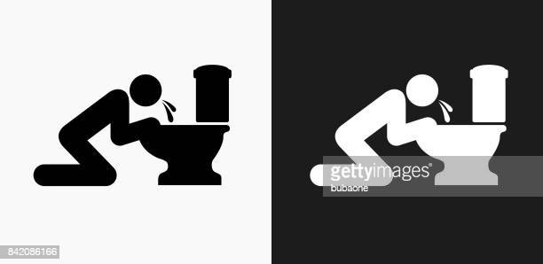 puking toilet icon on black and white vector backgrounds - vomit stock illustrations