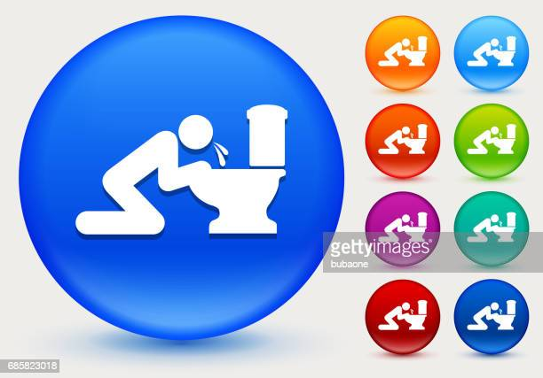 puking toilet icon on shiny color circle buttons - vomit stock illustrations