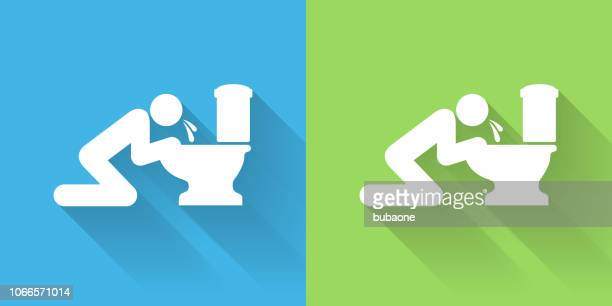 puking toilet icon with long shadow - vomit stock illustrations