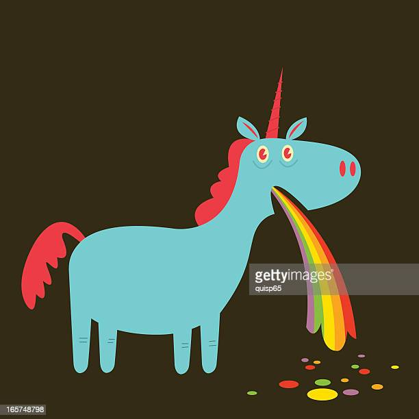 "illustrations, cliparts, dessins animés et icônes de puking ""arc-en-ciel - unicorn"