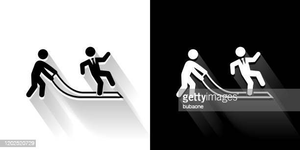 pulled rug  black and white icon with long shadow - naughty america stock illustrations