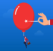 Pulling a businessman's rising balloon is pierced by a needle