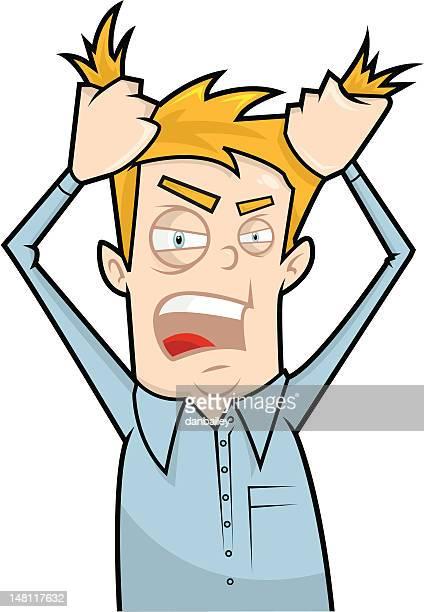 ilustraciones, imágenes clip art, dibujos animados e iconos de stock de extracción de mi pelo rabia - tirarse de los pelos