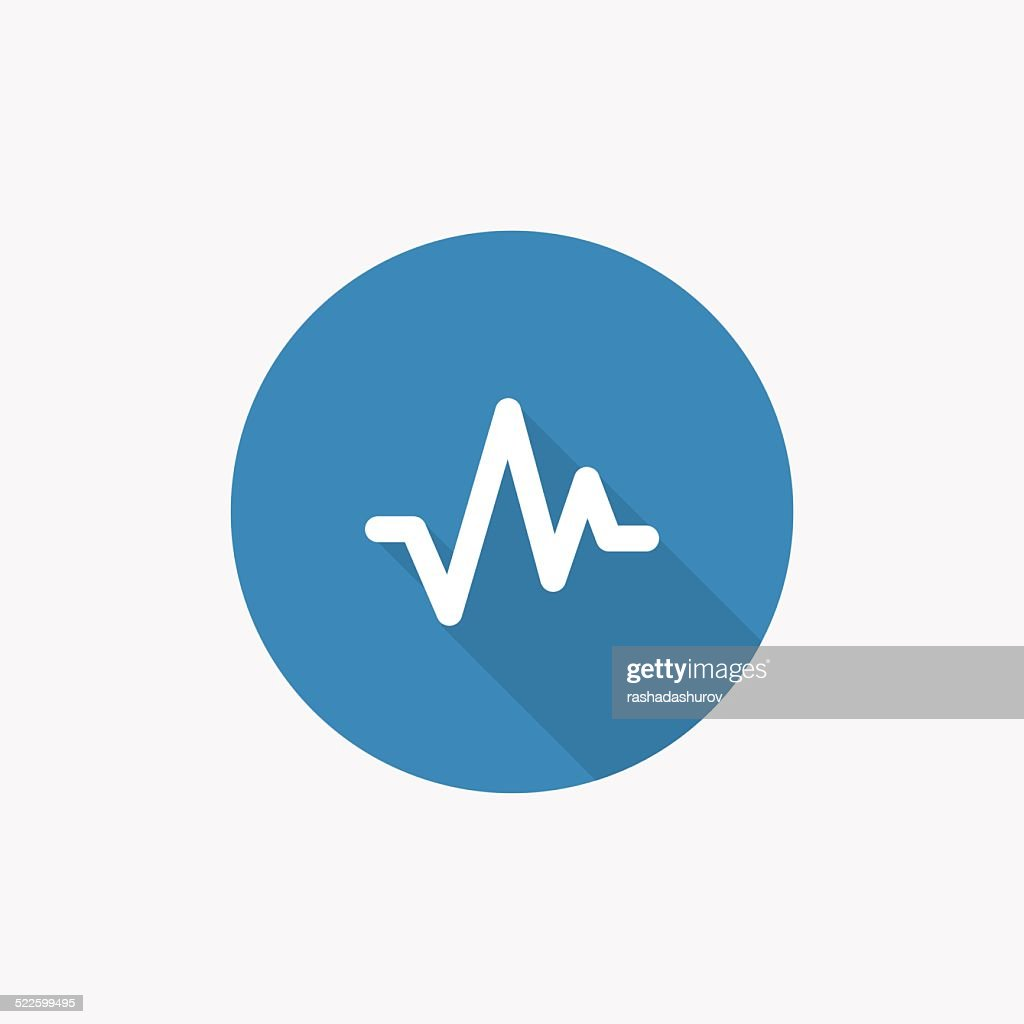 pulse Flat Blue Simple Icon with long shadow