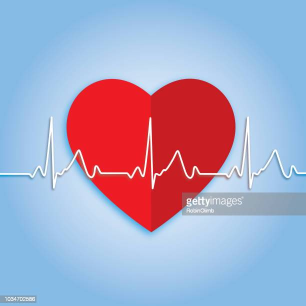 pulse trace heart icon - listening to heartbeat stock illustrations, clip art, cartoons, & icons