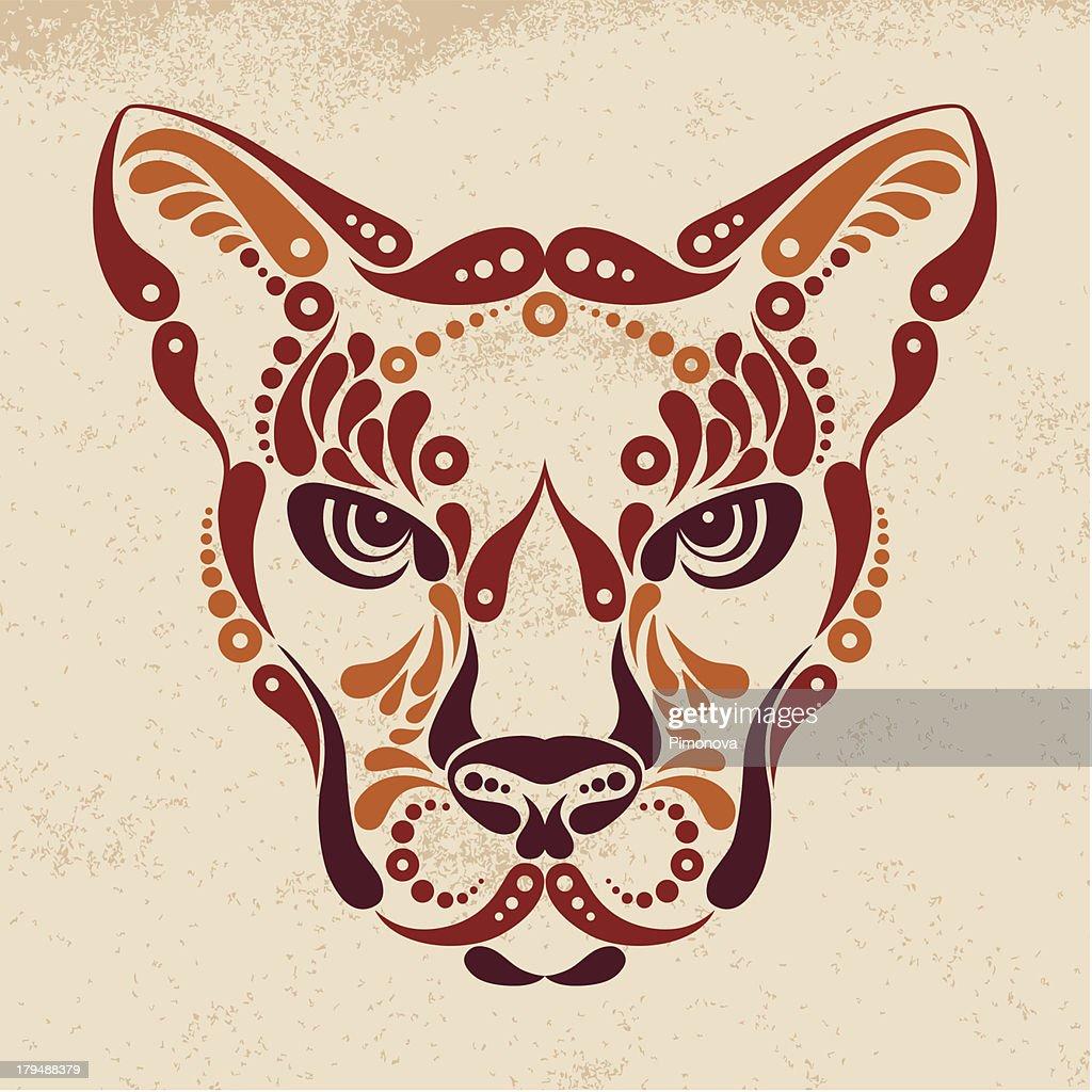 Puma tattoo, illustration in vintage style