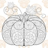 Pumkin on Skull seamless pattern for Hallowe