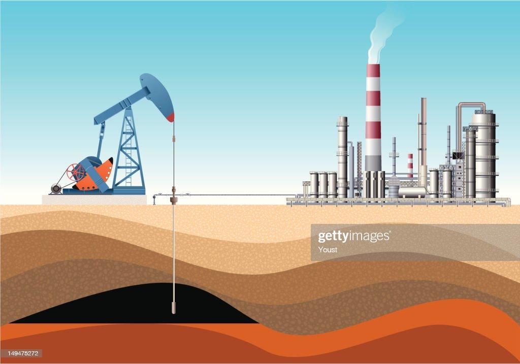 Jack de bomba e a refinaria de petróleo : Ilustração
