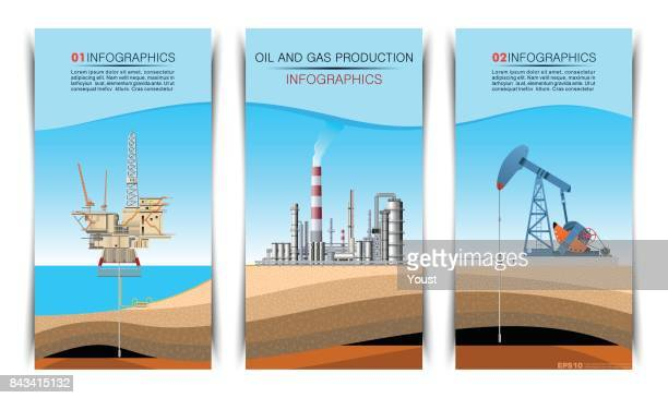pump jack, drilling rig and refinery brochure graphic design - oil field stock illustrations, clip art, cartoons, & icons