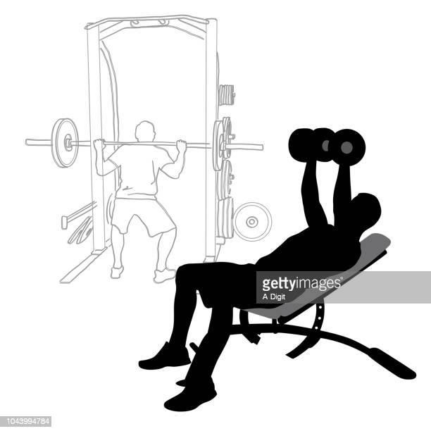 ilustraciones, imágenes clip art, dibujos animados e iconos de stock de bombeo de hierro gimnasio entrenamiento - entrenamiento de fuerza