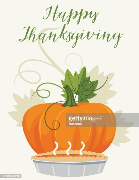 pumpkin and a pie - canadian thanksgiving stock illustrations