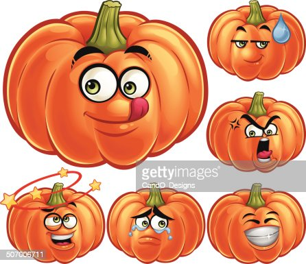 Pumpkin cartoon set a vector art getty images - Courge dessin ...