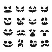 Pumpkin faces. Halloween evil devil face. Scary smile mouth, spooky nose and pumpkins eyes vector illustration set