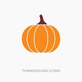 Pumpkin icon, Harvest Thanksgiving vector