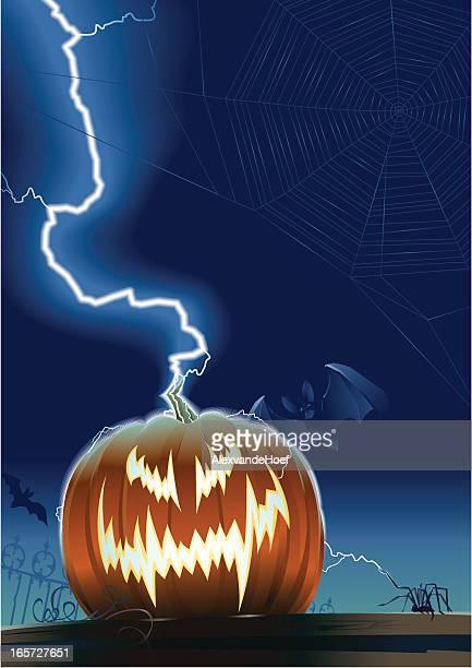 Pumpkin, Lightning, Spider and Bat