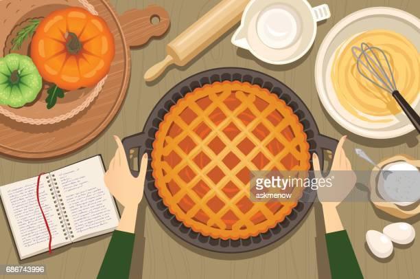 pumpkin pie - baked stock illustrations, clip art, cartoons, & icons