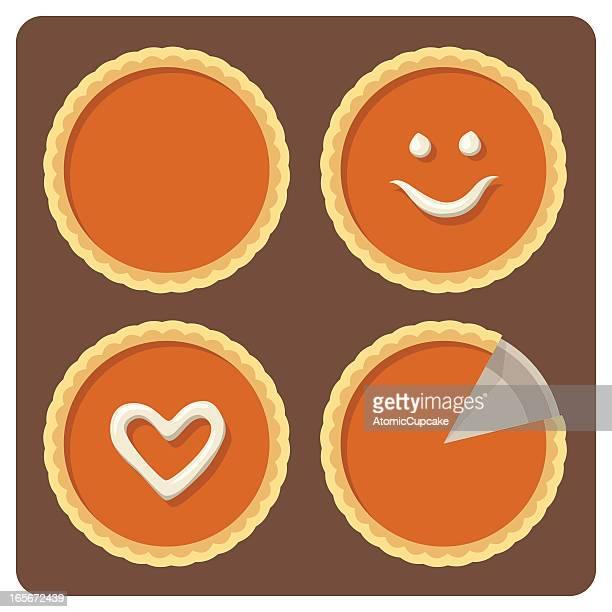 pumpkin pies - sweet pie stock illustrations