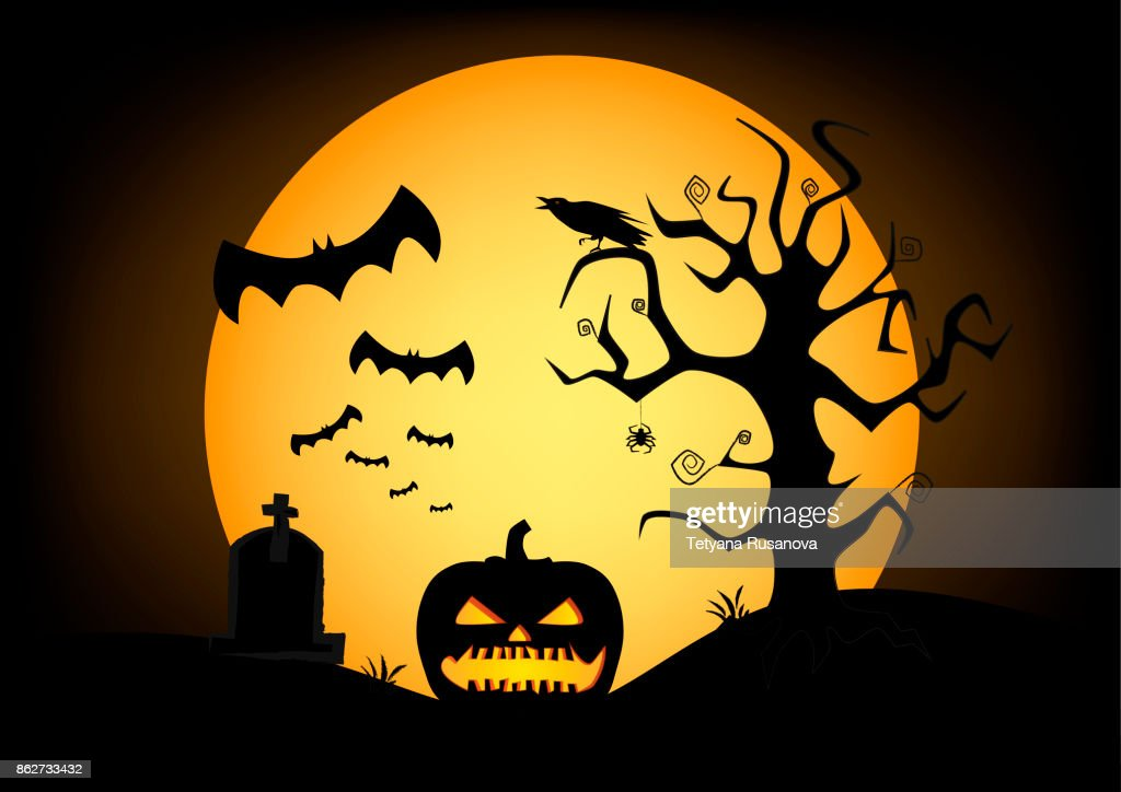 pumpkin silhouette on the big yellow moon and black sky background, horizontal