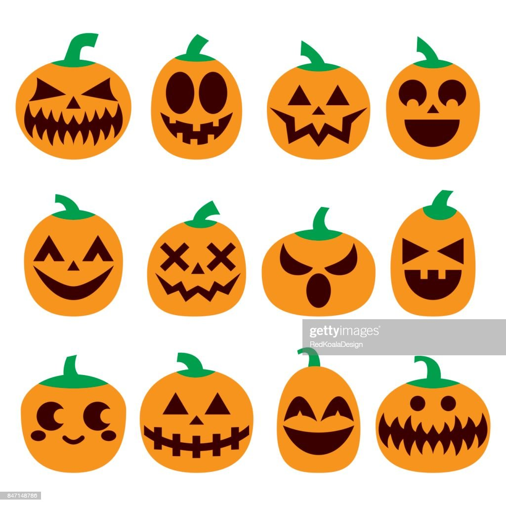 Pumpkin vector icons set, Halloween scary faces design set, horror decoration