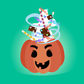 Pumpkin With Candy Sweets Treat Or Trick Banner Happy Halloween Symbol Greeting Card