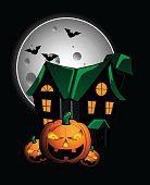 Pumpkins and haunted house