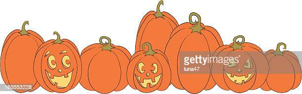 pumpkins and jack-o-lanterns - anthropomorphic stock illustrations, clip art, cartoons, & icons