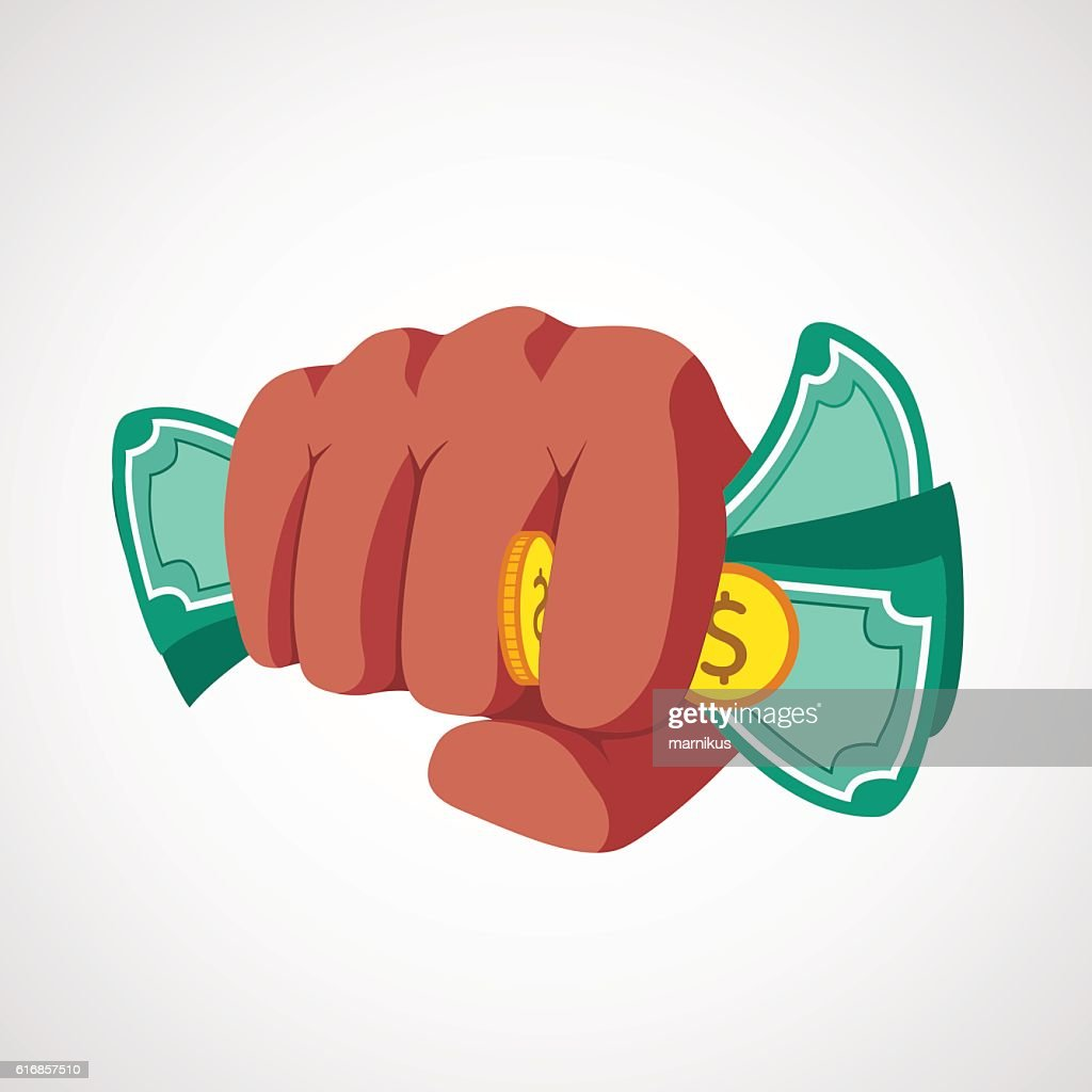 Punch fist with money vector : Vector Art