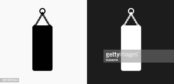Punching Bag Icon on Black and White Vector Backgrounds