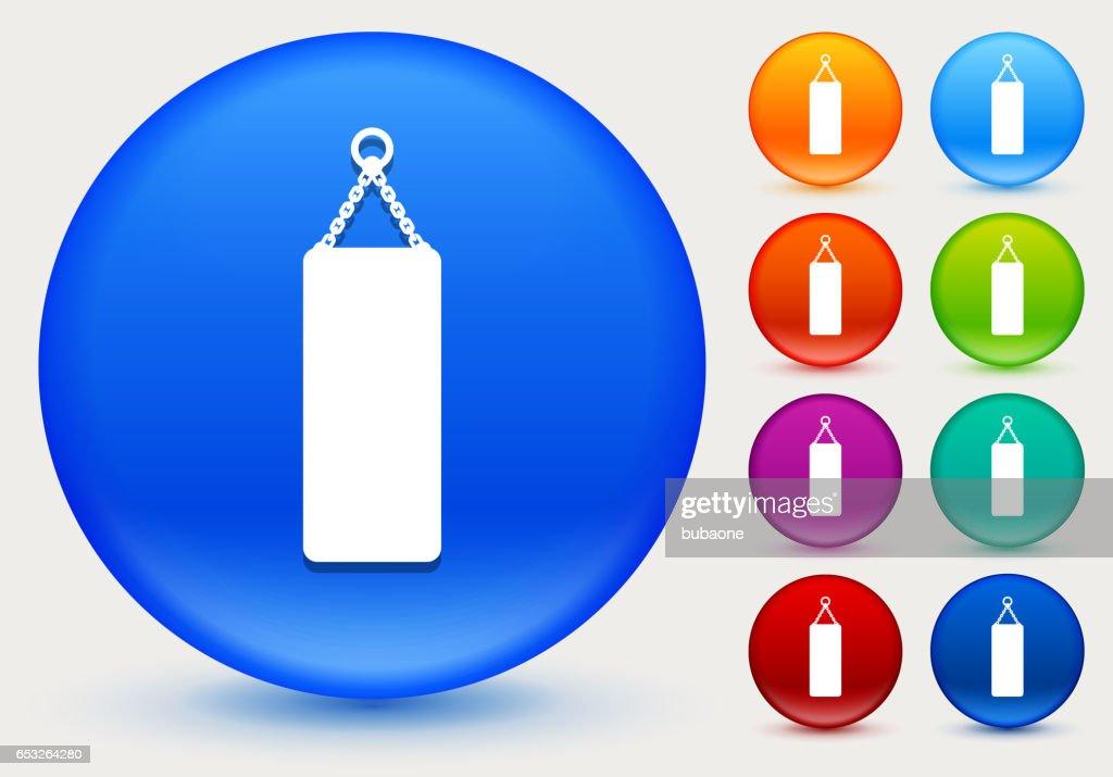 Sac de boxe icône sur cercle de couleur brillante boutons : Clipart vectoriel