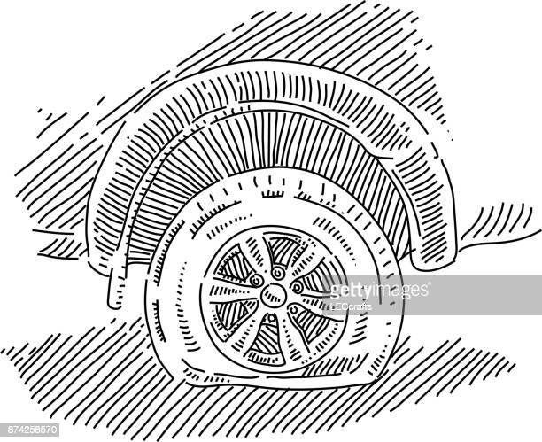 Punctured Car tyre Drawing