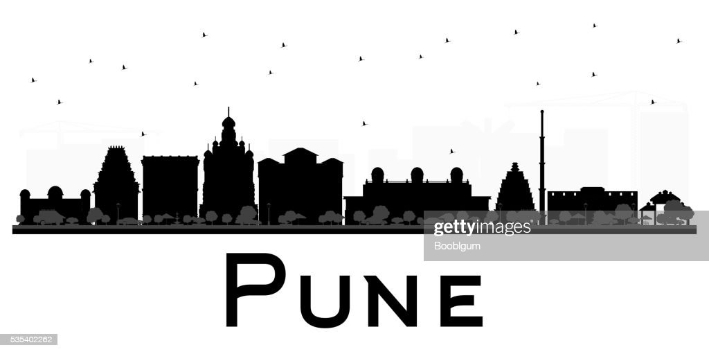 Pune skyline black and white silhouette.
