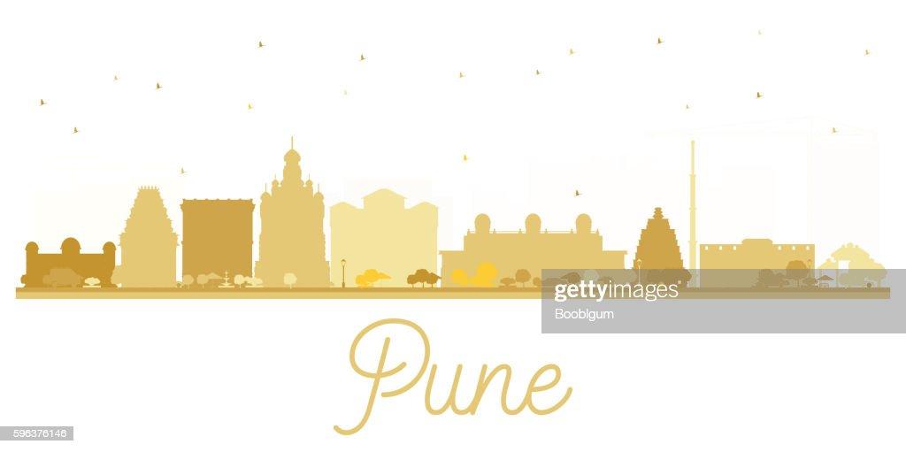 Pune skyline golden silhouette.