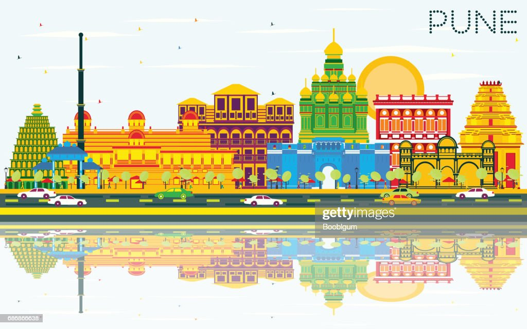 Pune Skyline with Color Buildings, Blue Sky and Reflections.