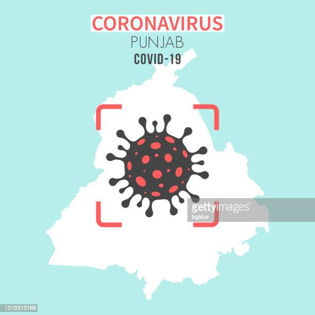 punjab map with a coronavirus cell (covid-19) in red viewfinder - punjab india stock illustrations
