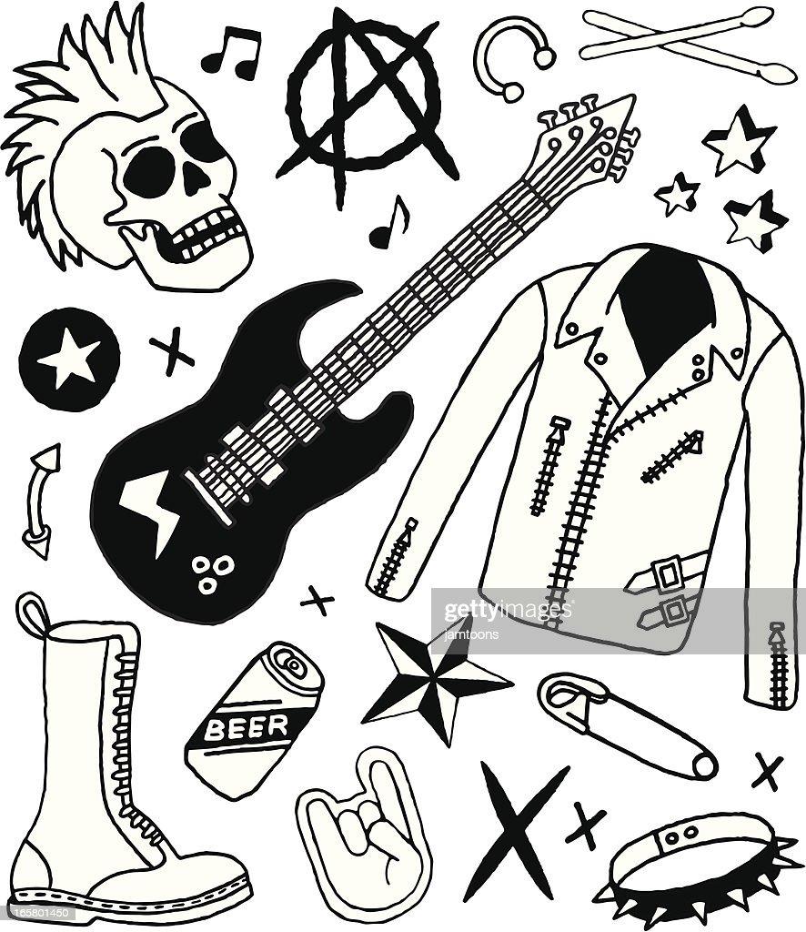 Punk Rock Doodles Vector Art | Getty Images